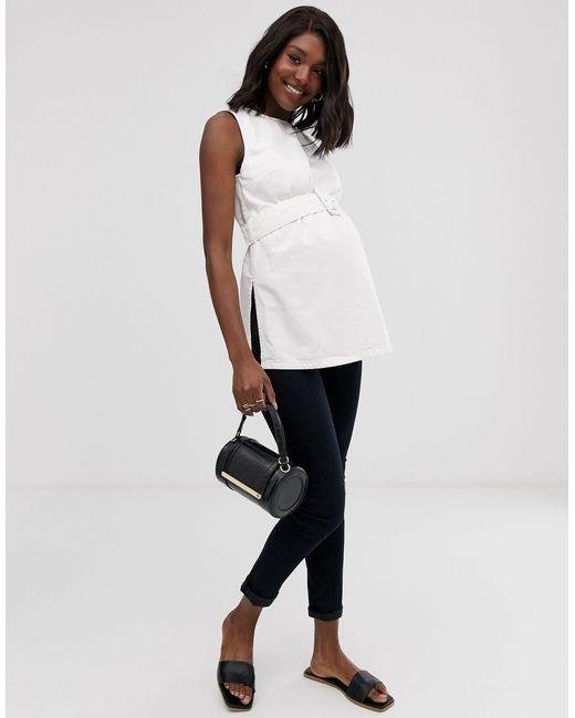 ASOS DESIGN Maternity - Débardeur long en denim à ceinture ASOS en coloris White