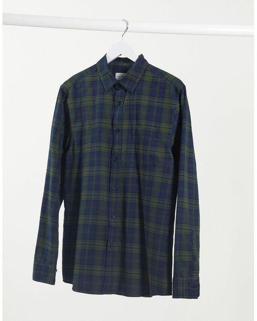 Camicia a maniche lunghe verde e blu navy a quadri di Topman in Blue da Uomo