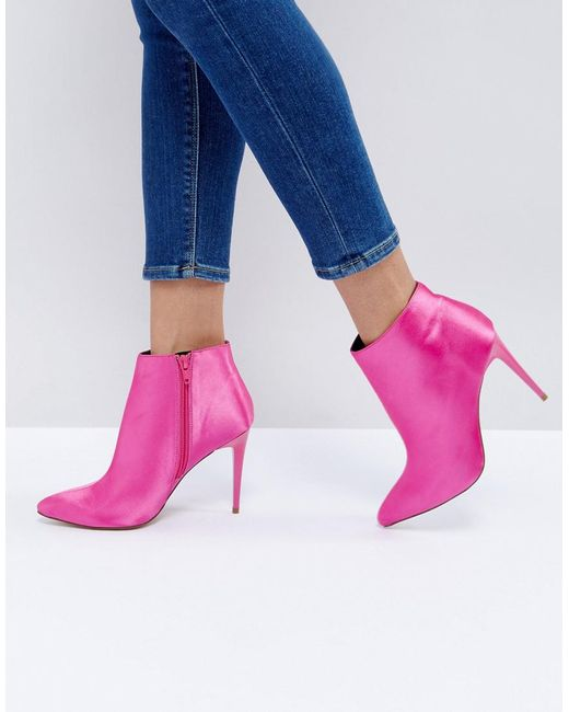 New Look - Pink Satin Heeled Ankle Boot - Lyst