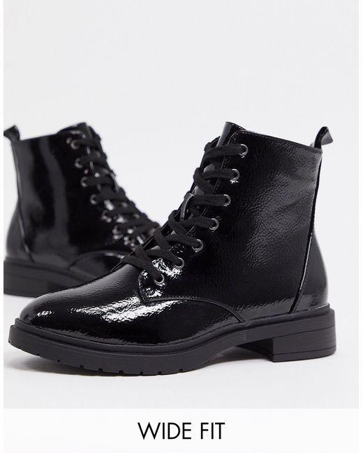 Черные Лакированные Ботильоны На Шнуровке -черный New Look, цвет: Black
