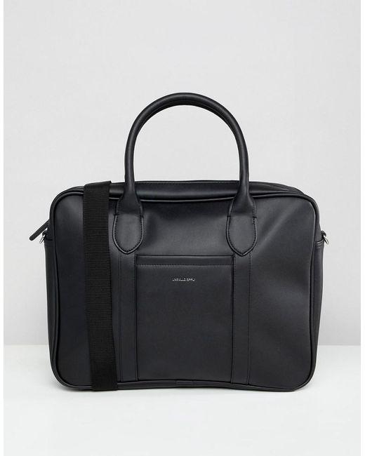 Asos Design Laptop Bag In Black Faux Leather And Silver Foil Emboss For Men