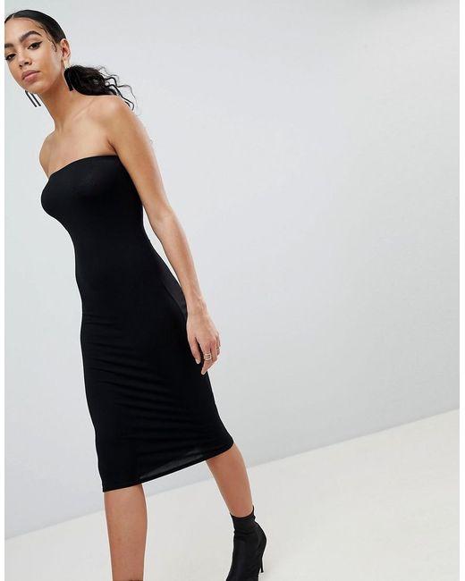 PRETTYLITTLETHING - Black Basic Bandeau Midi Dress - Lyst