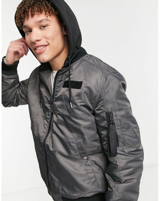 Серая Куртка-бомбер С Капюшоном -серый River Island для него, цвет: Gray