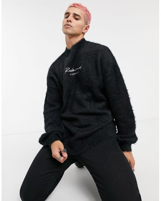 Черный Пушистый Джемпер С Логотипом Reclaimed (vintage) для него, цвет: Black