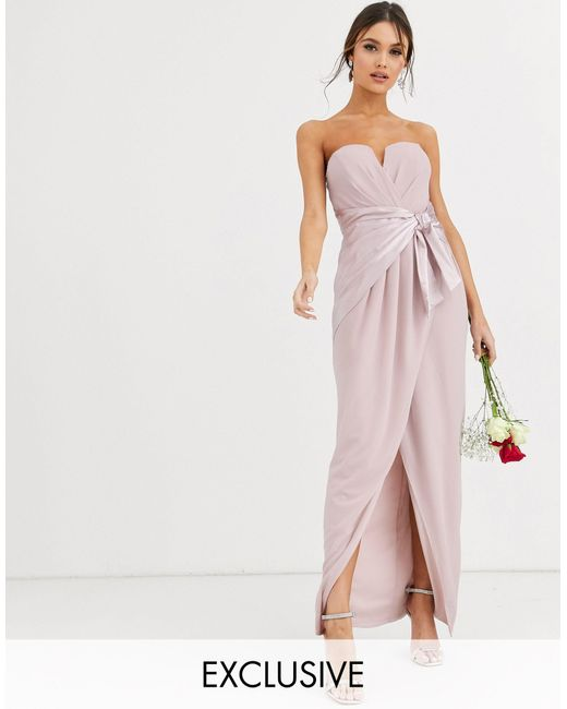 TFNC London Brown Bridesmaid Bandeau Maxi Wrap Dress With Satin Front Detail