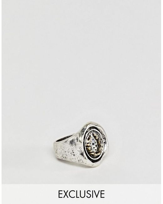 Reclaimed (vintage) - Metallic Inspired Signet Ring In Silver Exclusive At Asos for Men - Lyst