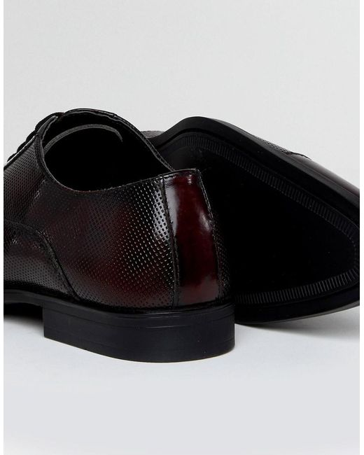 Wide Fit Oxford Shoes In Burgundy Leather With Laser Detail - Red Asos ijv5hZG1jr