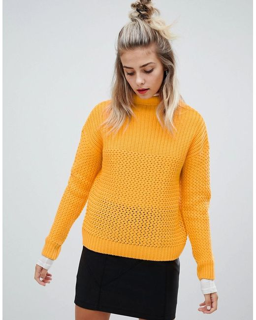Noisy May Yellow Cable High Neck Knit