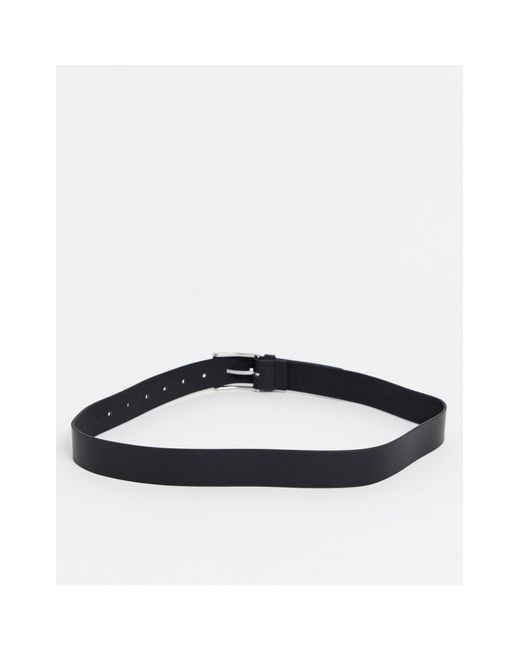 Черный Кожаный Ремень Для Джинсов С Серебристой Пряжкой ASOS, цвет: Black