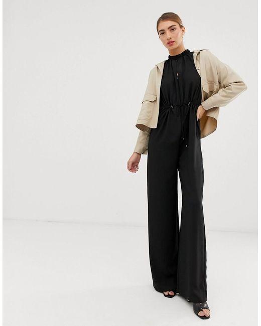 6338b1db4052 Lyst - Mango Drawstring Jumpsuit In Black in Black
