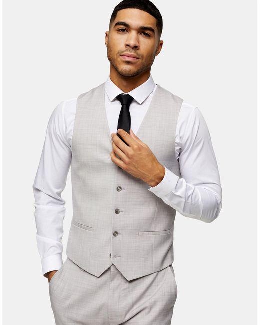 Серый Приталенный Жилет Topman для него, цвет: Gray
