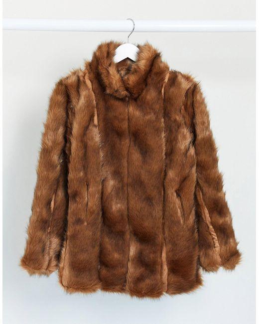 Коричневая Шуба Из Искусственного Меха -коричневый Missguided, цвет: Brown