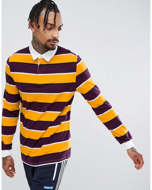 Lyst asos long sleeve stripe rugby polo in yellow for men for Long sleeve striped rugby shirt