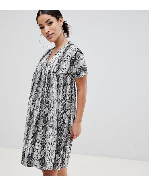 7a7a79dd739 ASOS - Gray Asos Design Maternity Ultimate Smock Dress In Snake Print -  Lyst ...