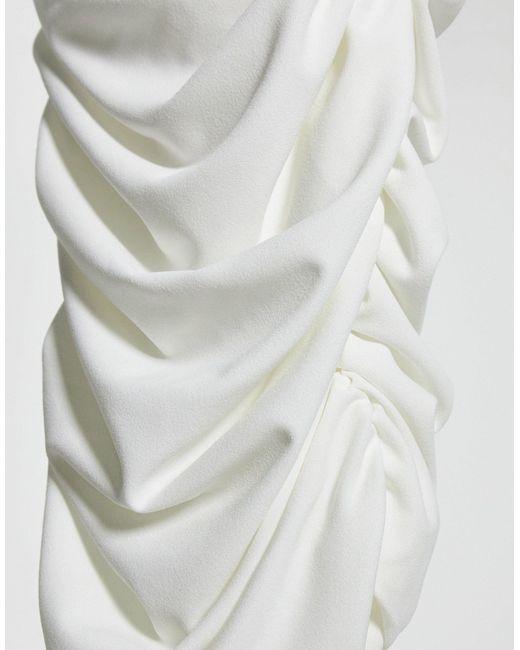 Белое Платье Миди С Длинными Рукавами -белый AX Paris, цвет: White