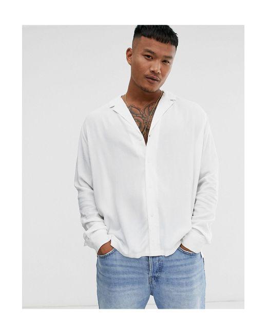 Белая Свободная Вискозная Рубашка С Воротником В Виде Лацканов ASOS для него, цвет: White