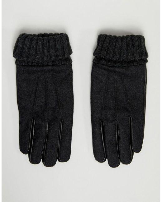 Gants en cuir pour écran tactile avec molleton de laine - Gris ASOS pour homme en coloris Gray