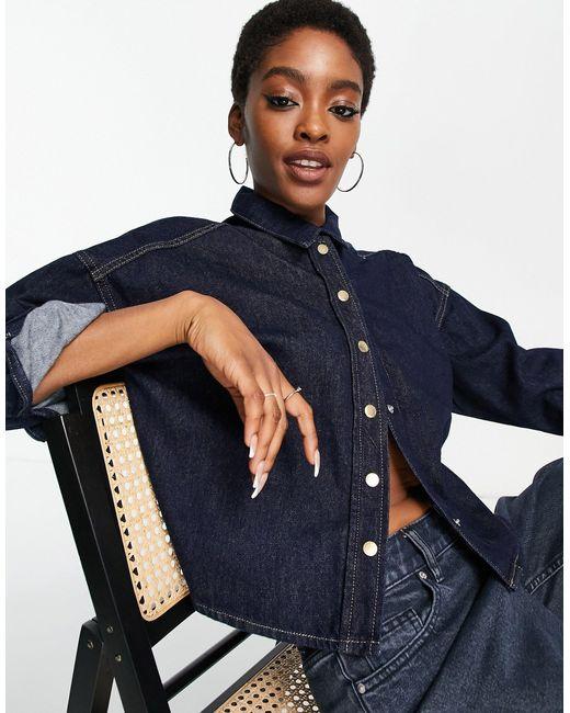 Chemise en jean coupe carrée épurée - indigo foncé ONLY en coloris Blue