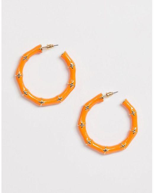 ASOS Metallic Hoop Earrings In Painted Bamboo Design In Gold Tone