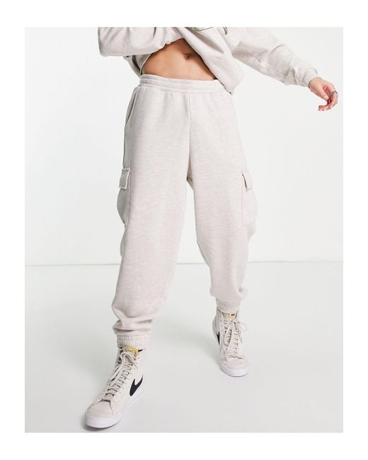 ASOS Natural Co-ord Oversized Trackies With Cargo Pockets for men