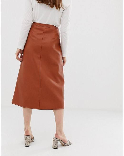 Leather Look Midi Skirt With Popper Front And Statement Pockets