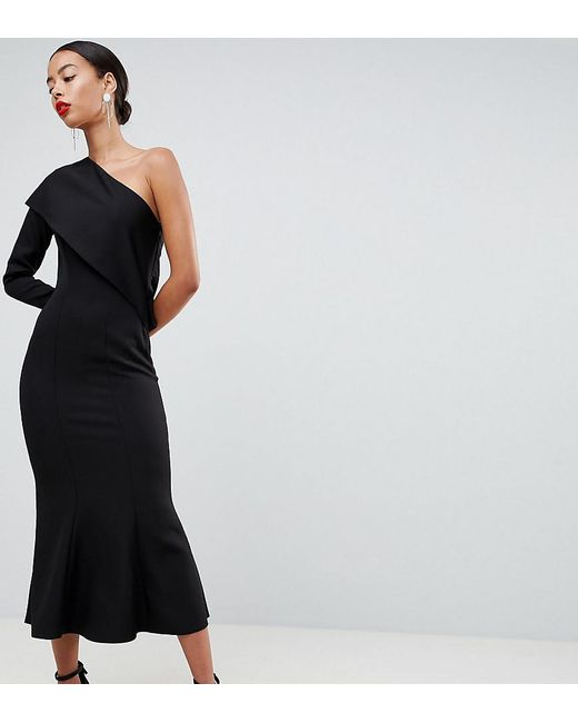 ASOS - Black Asos Design Tall One Shoulder Fit And Flare Midi Dress - Lyst
