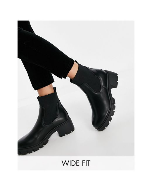 Черные Ботинки Челси Для Широкой Стопы На Массивной Подошве ASOS, цвет: Black