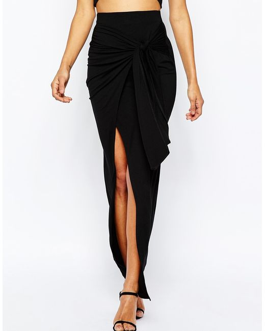 asos maxi skirt with twist knot in black lyst