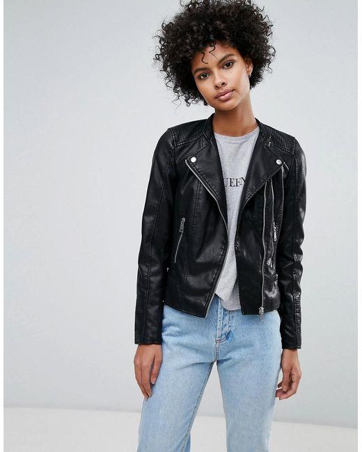 Vero Moda - Black Leather Look Biker Jacket - Lyst
