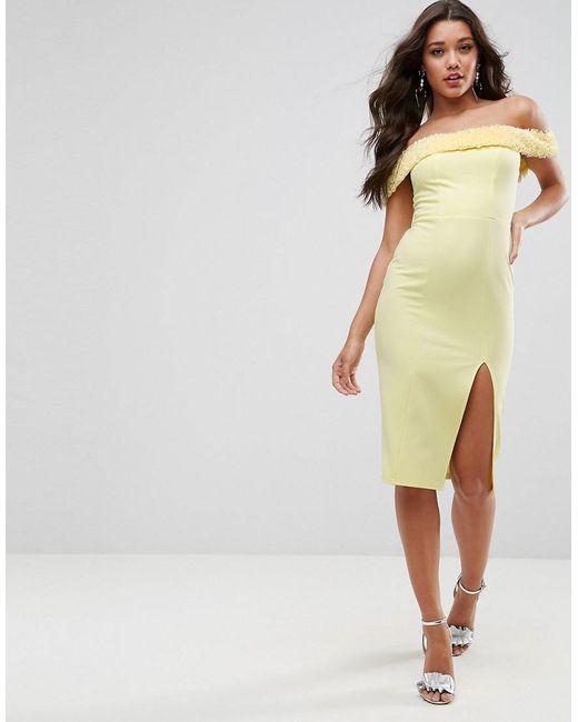 ASOS | Yellow Fluff Bardot Midi Dress | Lyst