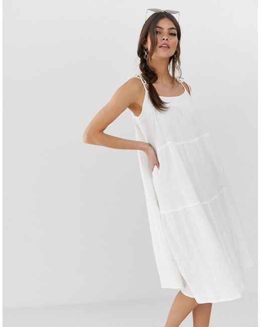 quality and quantity assured enjoy lowest price top-rated latest Women's White Cheesecloth Tiered Midi Sundress With Tie Straps