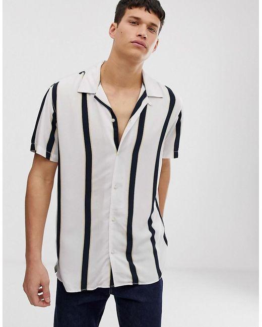 Jack & Jones White Originals Revere Collar Shirt With Vertical Stripe for men