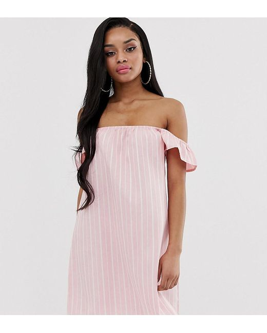 ad773cd866d443 Missguided Bardot Dress In Pink Stripe in Pink - Lyst