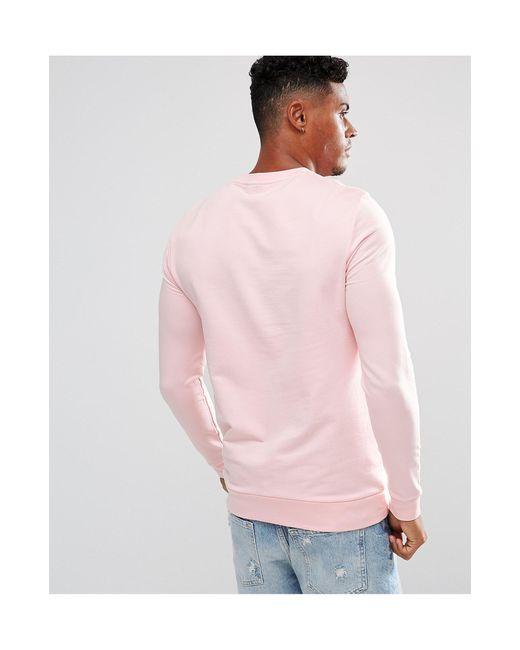 Sudadera ajustada con estampado de texto y rayas ASOS de hombre de color Pink