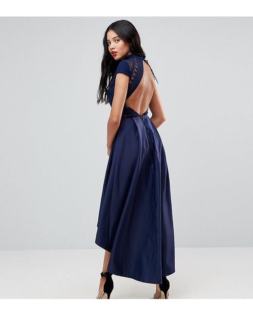 d03c5424400 Chi Chi London - Blue High Low Midi Dress With Open Back - Lyst ...