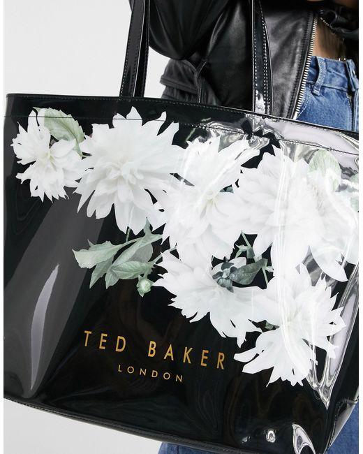 Большая Лакированная Сумка Черного Цвета С Цветочным Принтом Lexicon-черный Ted Baker, цвет: Black