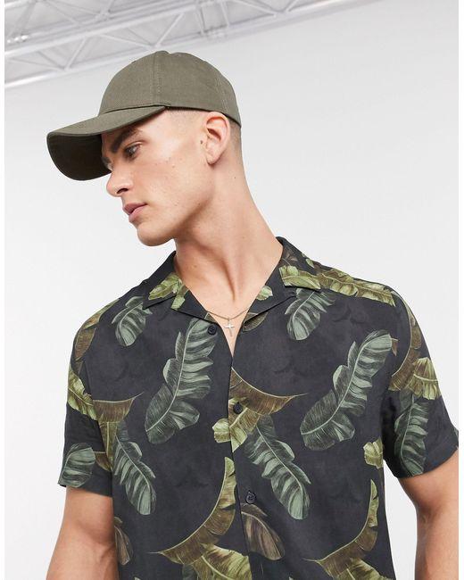 Черная Рубашка С Коротким Рукавом И Отложным Воротником -черный Topman для него, цвет: Black