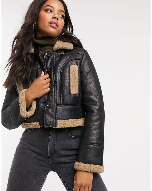 Черная Укороченная Куртка С Отделкой Из Искусственного Меха-черный French Connection, цвет: Black