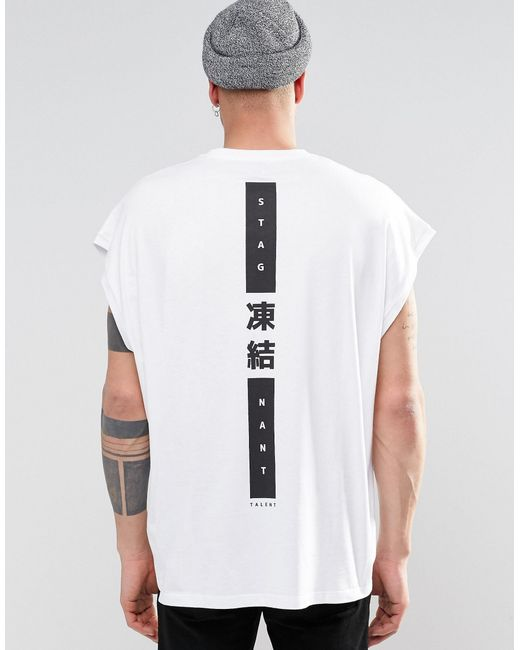 asos super oversized sleeveless t shirt with japanese text spine print