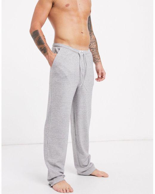 Хлопковые Пижамные Штаны С Начесом ASOS для него, цвет: Gray