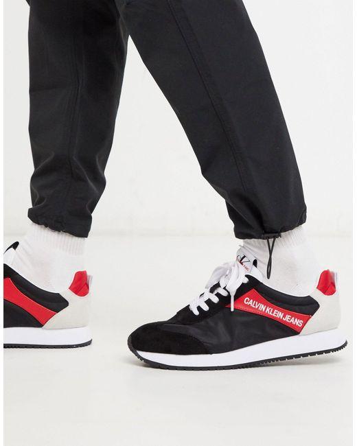 Calvin Klein Zapatillas negras con ribete rojo Jerrod de hombre de color negro
