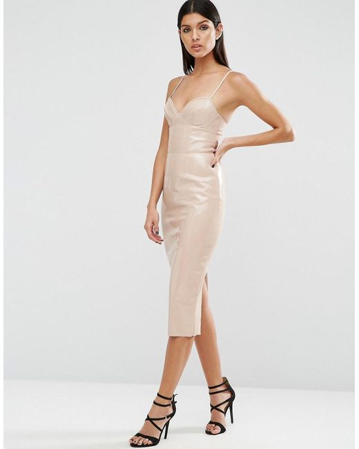 Lyst - Asos Pu Bodycon Dress in Natural - Save 51%