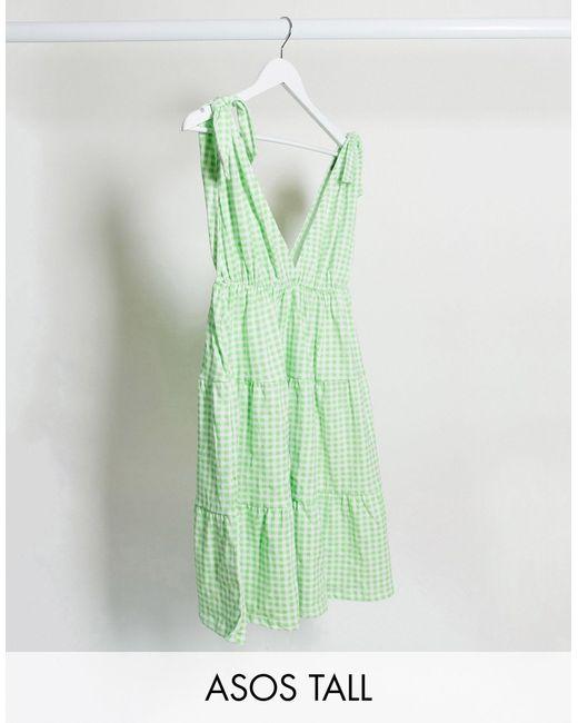 ASOS DESIGN Tall - Prendisole corto a quadretti con spalline allacciate di ASOS in Green