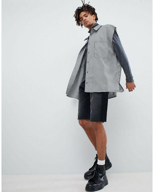 Mennace – Ärmelloses Oversize-Hemd mit Gingan-Muster in White für Herren