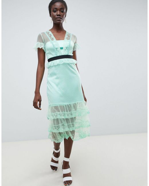 Three Floor Green Tiered Midi Dress With Contrast Waistband