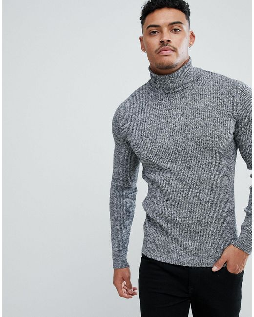 Mens Classic Polo Neck Jumper Slim Fit Stretchy Cotton Ribbed Grey Blue Funnel