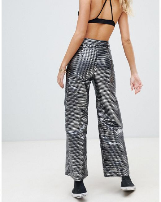 Pantalon large d'ensemble en jacquard métallisé ebonie n ivory en coloris Metallic