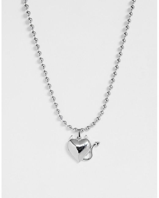ASOS Metallic Necklace With Devil Heart Pendant In Silver Tone