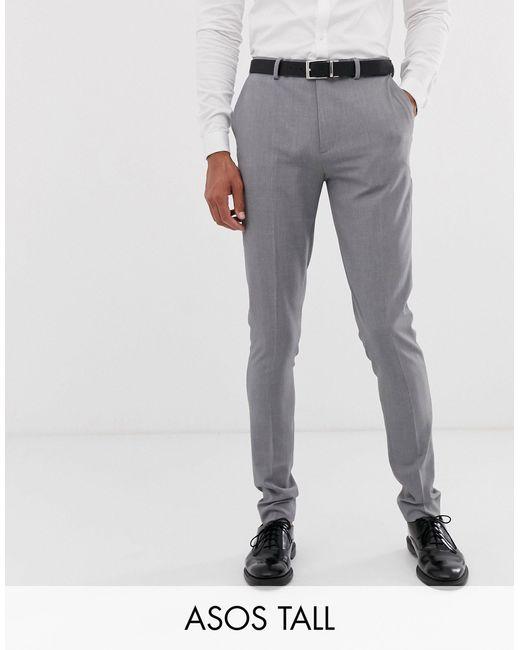 Серые Супероблегающие Строгие Брюки ASOS для него, цвет: Gray