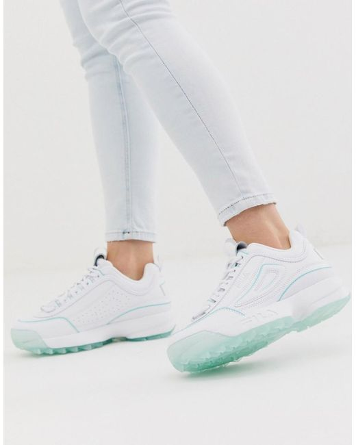 pretty cool performance sportswear wholesale outlet Disruptor Ii Trainers In White With Ice Blue Sole